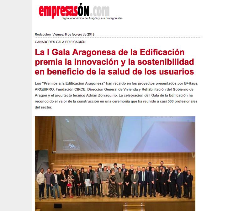 La I Gala Aragonesa de la Edificación premia la innovación y la sostenibilidad en beneficio de la salud de los usuarios