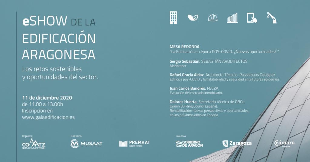 NdP: COAATZ y el sector de la edificación en Aragón organizan un eShow que analizará los retos sostenibles y oportunidades